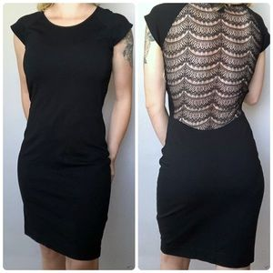 French Connection Black Lace Back Bodycon Dress